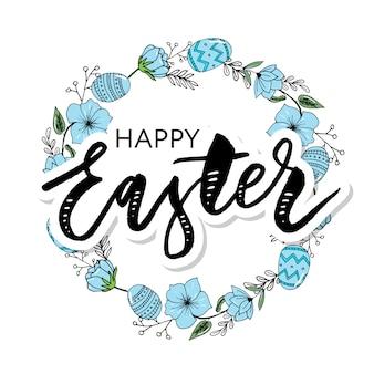 Wielkanocna rama z easter jajkami wręcza patroszonego czerń na białym tle.
