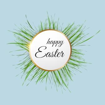 Wielkanocna rama z pięknym napisem i zieloną trawą. ilustracja wektorowa