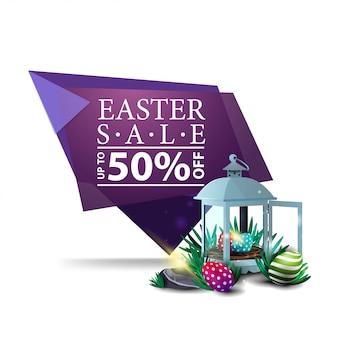 Wielkanocna sprzedaż, purpurowy sztandar z antykwarskim lampionem z wielkanocnymi jajkami