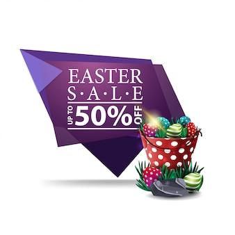 Wielkanocna sprzedaż, purpurowy sztandar z wiadrem z wielkanocnymi jajkami