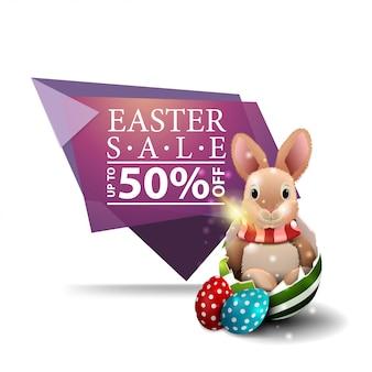 Wielkanocna sprzedaż, różowy sztandar z wielkanocnym królikiem w jajku