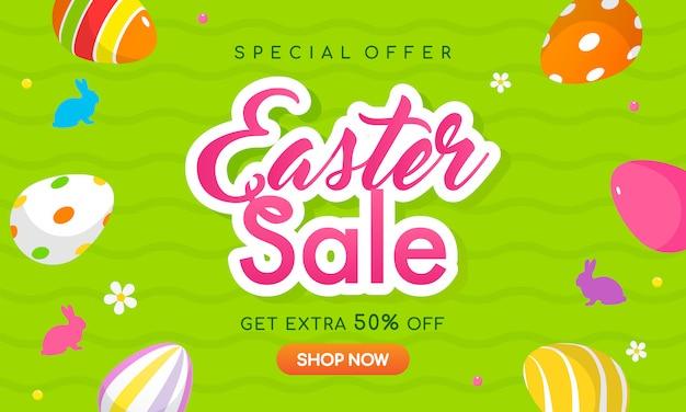 Wielkanocna sprzedaż transparent wektor ilustracja.