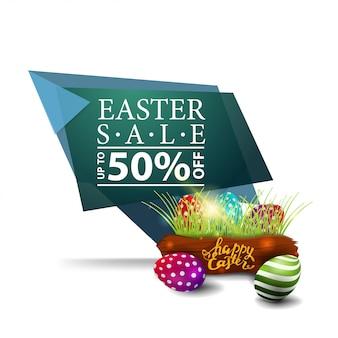 Wielkanocna sprzedaż, zielony sztandar z pisankami,