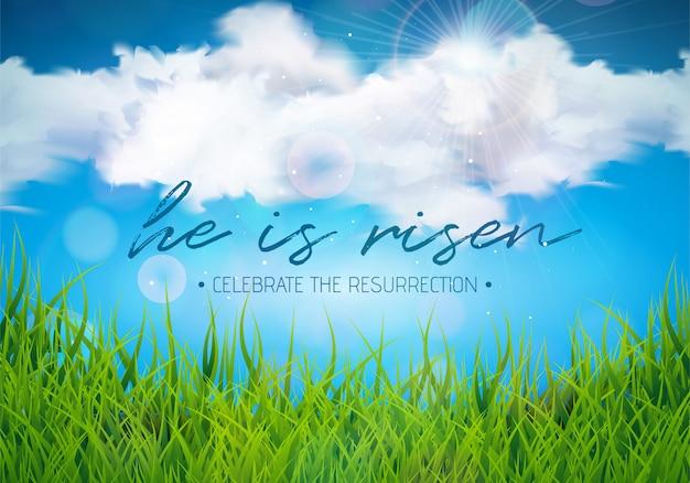 Wielkanocna wakacyjna ilustracja z obłoczną i zieloną trawą
