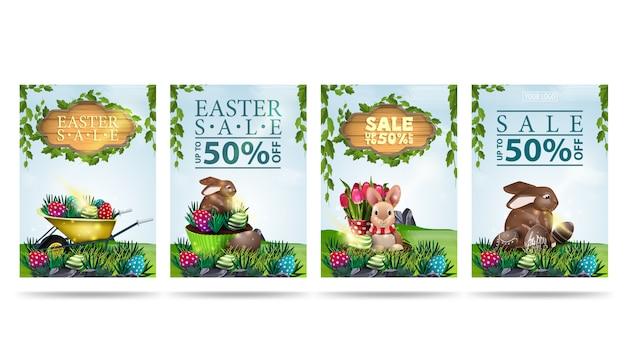 Wielkanocna wyprzedaż, do 50% zniżki, banery rabatowe w kolekcji w stylu kreskówek z ikonami wielkanocnych i wiosennych krajobrazów.