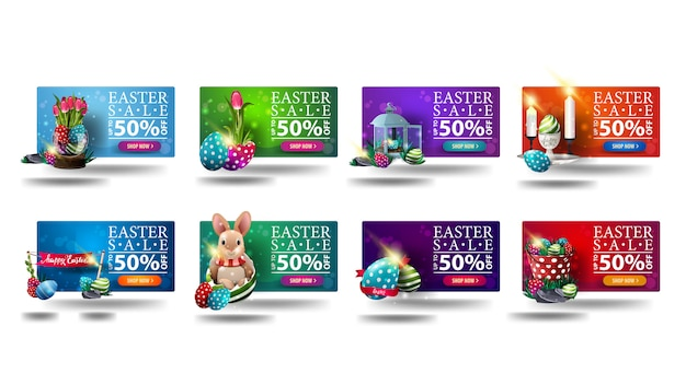 Wielkanocna wyprzedaż, duża kolekcja kolorowe banery rabatowe 3d w stylu kreskówki