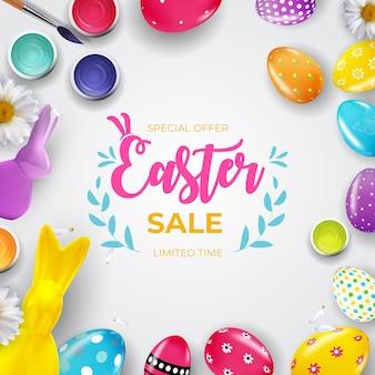 Wielkanocna wyprzedaż z 3d realistycznymi pisankami i farbą.