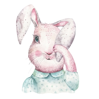 Wielkanocne akwarela kreskówka króliczki z liści, gałęzi i piór.