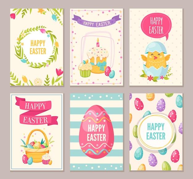 Wielkanocne banery kreskówek z wesołymi symbolami wielkanocnymi na białym tle
