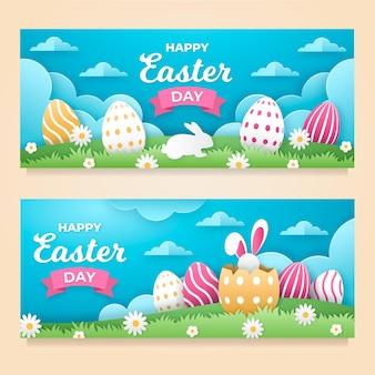 Wielkanocne banery w stylu papierowym