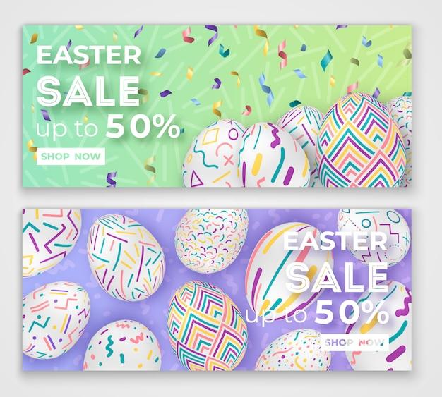 Wielkanocne banery z ozdobnymi jajkami