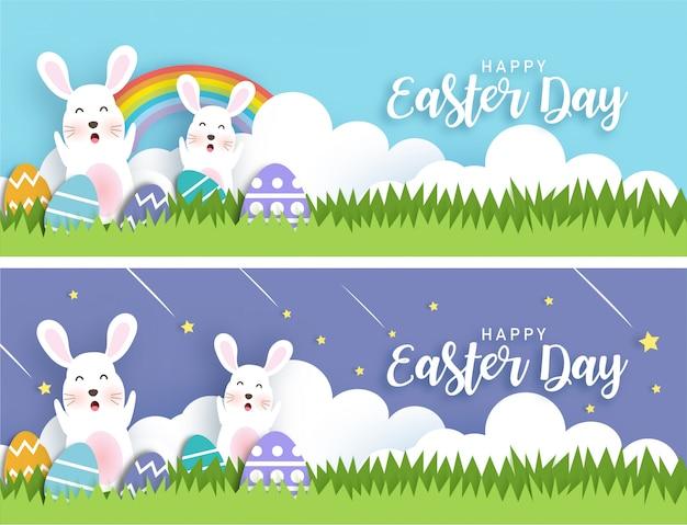 Wielkanocne banery z pisanki i słodkie króliki w stylu cięcia papieru i rzemiosła.