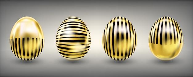 Wielkanocne błyszczące złote jajka w czarne paski