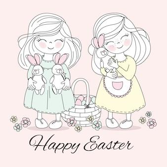 Wielkanocne dzieci wektor świąt religijnych