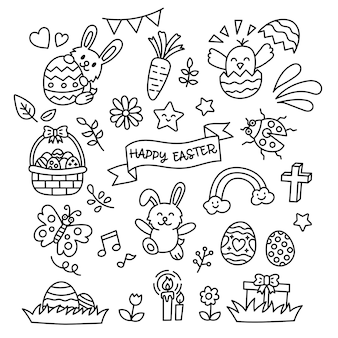 Wielkanocne elementy doodle kawaii stylu