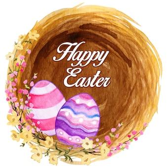 Wielkanocne gniazdo z kolorowymi zdobionymi jajkami i kwitnącymi kwiatami