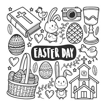 Wielkanocne ikony ręcznie rysowane doodle kolorowanki