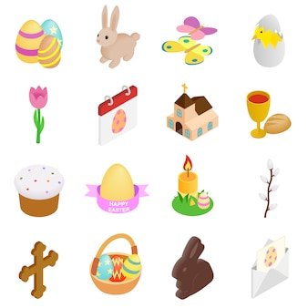 Wielkanocne izometryczne 3d ikony ustaw na białym tle