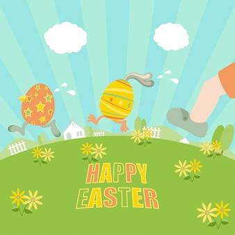 Wielkanocne jaja ucieka od gonić chłopca