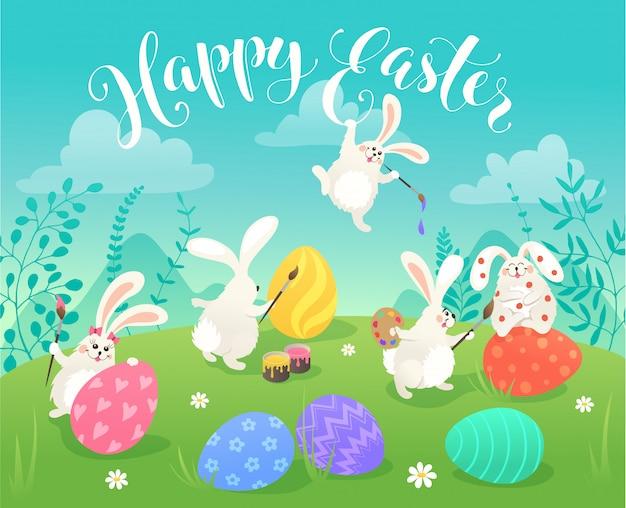 Wielkanocne króliczki kartkę z życzeniami