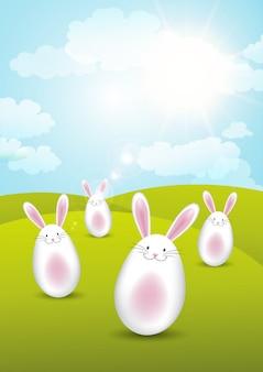 Wielkanocne króliczki w słoneczny krajobraz