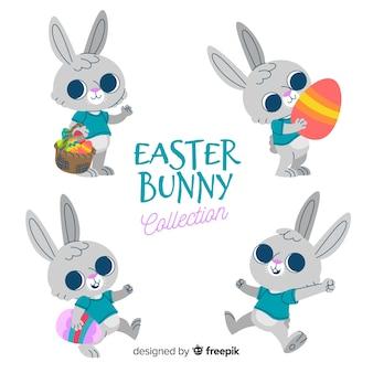 Wielkanocne króliczki z dekorowaną kolekcją jaj