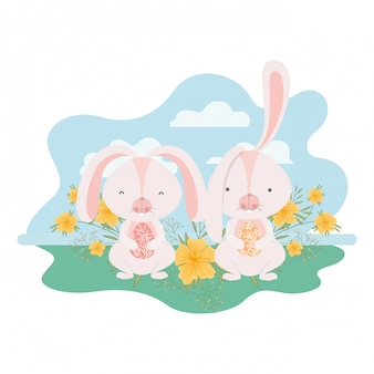 Wielkanocne króliczki z ikona krajobraz na białym tle