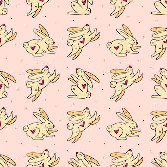 Wielkanocne króliki słodkie doodle ręcznie rysowane bezszwowe tupot
