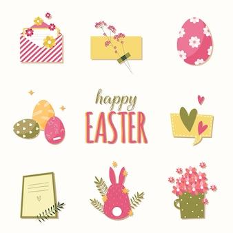 Wielkanocne naklejki i przedmioty w stylu płaskiej kreskówki