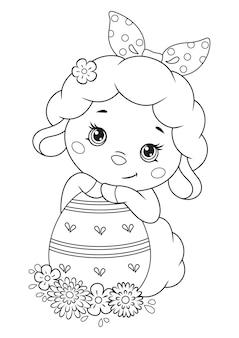 Wielkanocne owiec z jajkiem do kolorowania