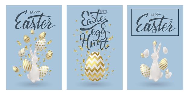 Wielkanocne plakaty lub ulotki projektowe z realistyczną dekoracją 3d. złote jajka, ceramiczny króliczek i zimne konfetti. wesołych świąt świętujących karty wydarzeń, banery festiwalu jaj. ilustracja wektorowa.