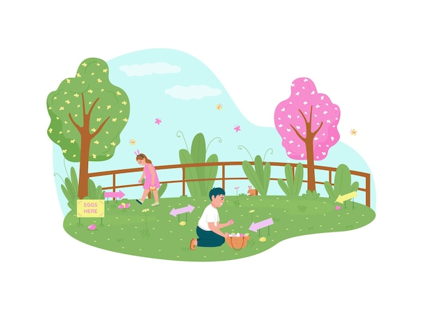Wielkanocne polowanie na jajka, baner sieciowy 2d, plakat