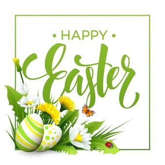 Wielkanocne powitanie napis flower egg.