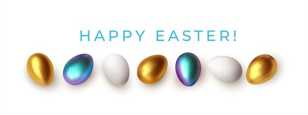 Wielkanocne powitanie tło z realistycznymi złotymi, niebieskimi, białymi pisankami. ilustracja wektorowa eps10