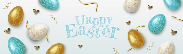 Wielkanocne powitanie tło z realistycznymi złotymi, niebieskimi i białymi pisankami