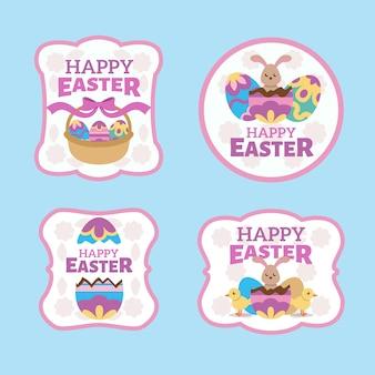 Wielkanocne tradycyjne elementy odznaka kolekcja płaska