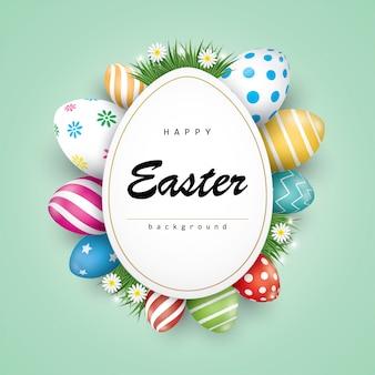 Wielkanocne wakacje kartkę z życzeniami z kolorowymi pisankami