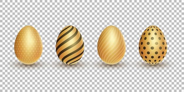 Wielkanocne złote błyszczące jaja 3d z wzorem na przezroczystym tle.