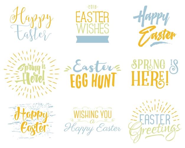 Wielkanocne życzenia nakładki, zestaw napisów.
