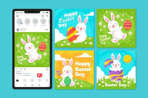 Wielkanocnego dnia instagram poczta z białym królikiem na trawie
