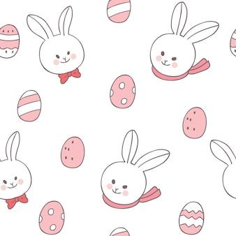 Wielkanocnego dnia królik i kolorowych jajek bezszwowy wzór