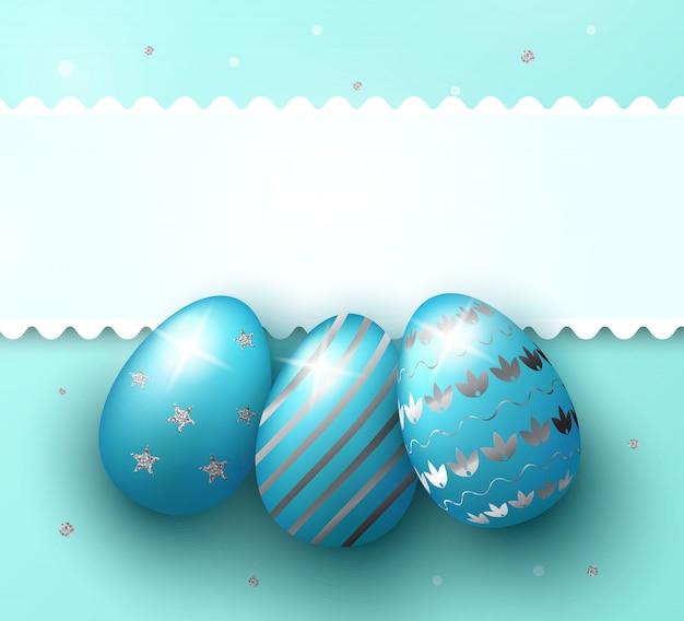Wielkanocnego dnia tło z realistycznymi 3d błękitnymi jajkami