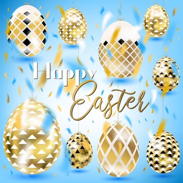 Wielkanocnego rocznika złoci jajka w niebie