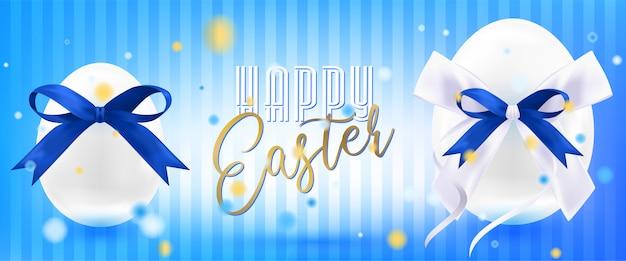 Wielkanocni biali jajka z jedwabniczym łękiem w confetti