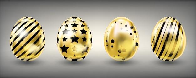 Wielkanocni błyszczący złoci jajka z czarną dekoracją