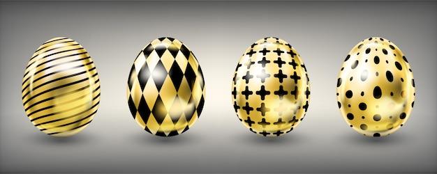 Wielkanocni błyszczący złoci jajka z czarny ozdobnym