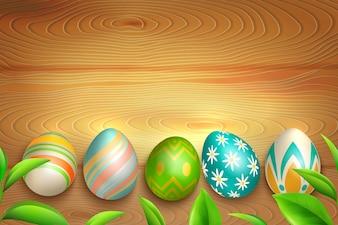 Wielkanocni Jajka Na Drewnianym Tle
