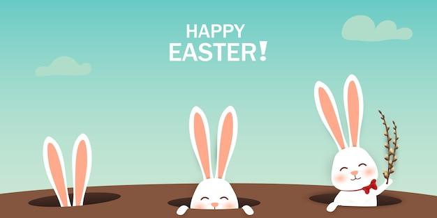 Wielkanocni króliki patrzeje od dziury