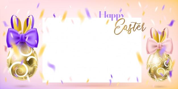 Wielkanocni złoci jajka z królika łękiem i blanc kartą