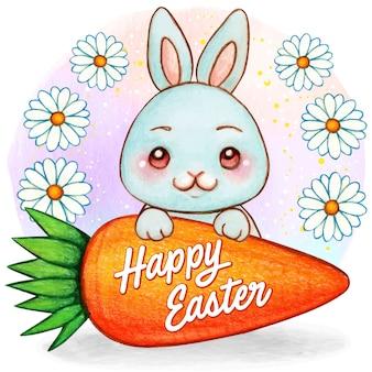 Wielkanocny akwarela niebieski króliczek z gigantyczną marchewką i stokrotkami